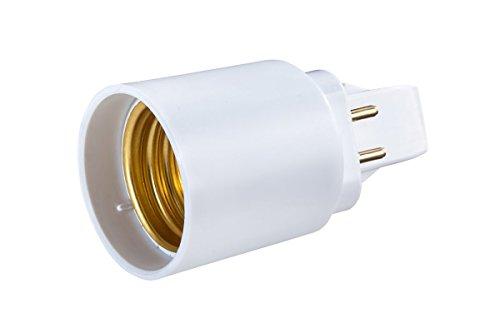 G24de Q adaptador de 4pines a rosca de E27para bombilla LED Converter–Longitud total: 58mm, G24de socket de longitud: 22mm, longitud del vástago: 42mm, diámetro: 37mm