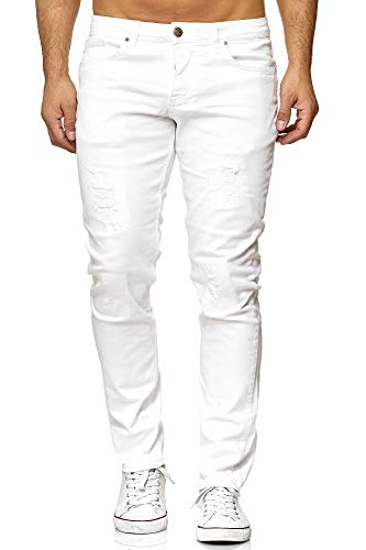 Elara Jeans Uomo Pantaloni Slim Fit Denim Stretch Chunkyrayan Bianco 16525-Weiss-29W / 32L