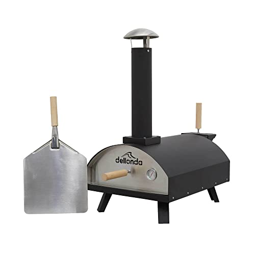 Dellonda Portable Wood-Fired Pizza Oven and Smoking Oven, Black/Stainless Steel - DG10