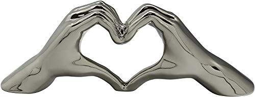 Gilde Escultura Moderna Figura Decorativa Hand Heart XL realizada en cerámica cerámica 45x15 cm