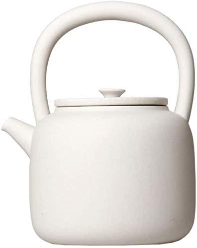 Tetera de cerámica Tetera de porcelana Tetera de gres Olla de arcilla blanca Olla de cerámica blanca Olla Juego de té de cerámica Estufa de cerámica eléctrica Estufa de carbón Tetera para hervir Té 1