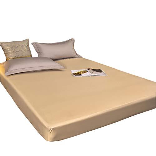 YUDIZWS Protector De Colchón Impermeable 100% Algodón Transpirable Hipoalergénico Y Antiácaros Suave Lavable A Máquina Funda Hipoalergénica (Color : Camel, Size : 90x200+30cm)