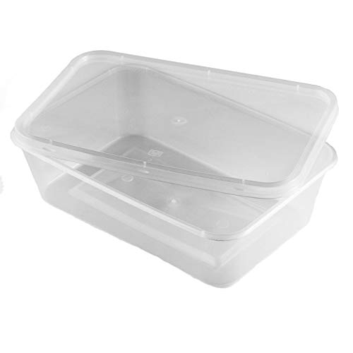 Thali Outlet - 50 x Rectangular 500ml Microwave Clear Re-usable Food Containers Freezing Takeaway Hot Cold Foods