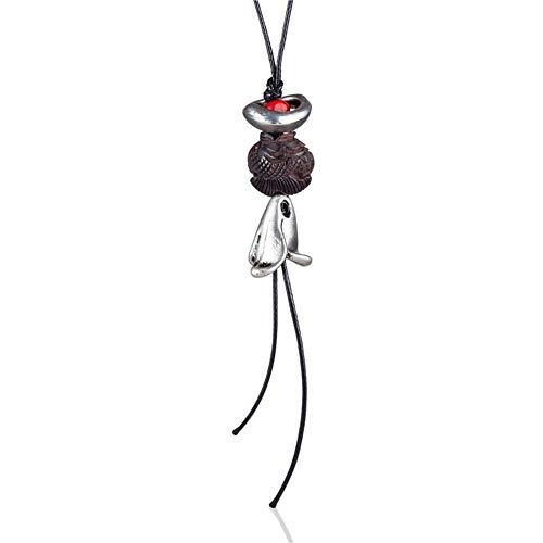 chenyou Colgante de madera con diseño de calabaza, estilo vintage, para mujer, collar de regalo (Color del metal: A)