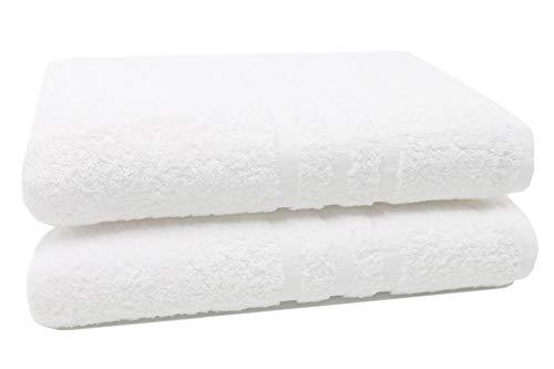 ZOLLNER 2 Toallas de baño Grandes 100% algodón, 100x150 cm, Blancas