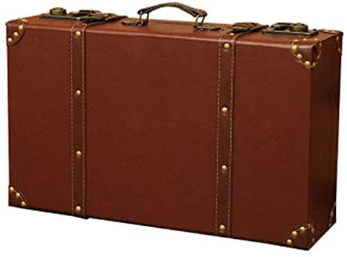 トランクケース アンティーク ヴィンテージスーツケースの撮影の小道具ホームストレージボックス木製荷物レトロウィンドウ装飾家具スーツケース