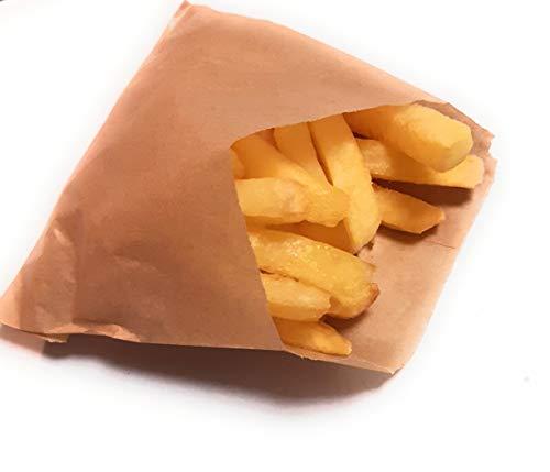 Bolsas de papel kraft antigrasa para Patatas fritas, fritos,