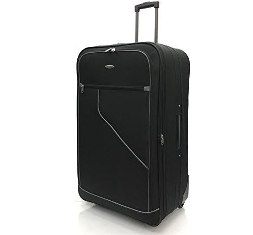 "32"" Extra Large Super Lightweight Expandable Durable Hold Luggage Suitcase Trolley Case Travel Bag with 2 Wheels (32' Extra Large, Black/Grey)"