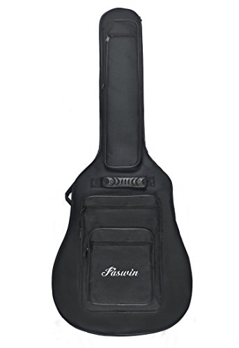 Faswin 41 Inch Acoustic Guitar Padded Gig Bag with 6 Pockets, Pick Sampler and Guitar Strap
