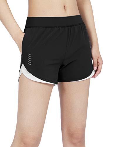 DISHANG Damen Laufshorts mit Taschen Leichte Dry-Fit Athletic Shorts (Schwarz, XS)