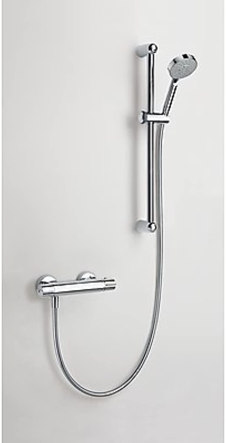 Three Griferia?–?Shower Kit Eco ? Term Thermostatic · Slidebar Eco (? 25?mm. Long 600?mm.). · Shower Mobile Massage ? 100?mm. (5?Positions). · Flexo Satin. (09018602)