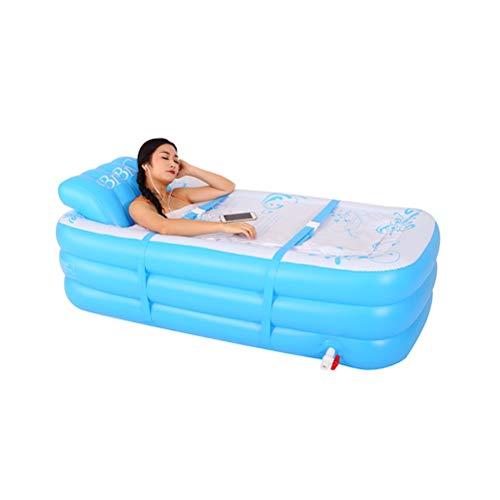 MC.PIG Opblaasbaar bad Volwassen draagbaar Opvouwbaar Verdikt groot bad Gestoomd bubbelbad Vat Huishoudelijk Opblaasbaar opblaasbad Vatbad Dompelbaden Opblaasbare zwembaden (Color : Blue)