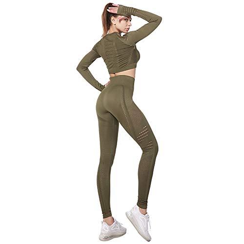 Jamron Donna Set di Abbigliamento Yoga Top Corto+Ghette 2 Pezzi Tuta Sportiva Palestra Fitness Activewear Verde Militare SN05405 S