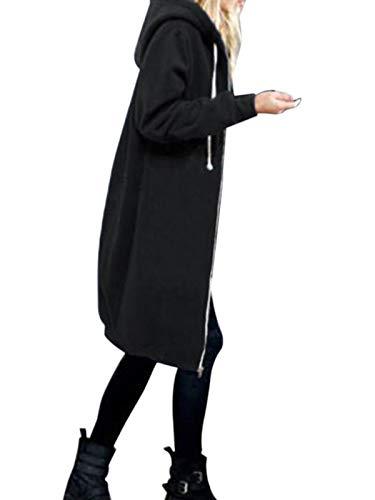 YOSICIL Damen Herbst Winter Outing Stil Frauen Warm Reißverschluss Öffnen Clubbing Dating Elegante Hoodies Sweatshirt Langen Mantel Jacke Tops Outwear Hoodie Outwear Kapuzenpullover