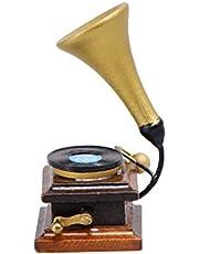 EXCEART 1Pc Mini Retro Gramofon Dekor Moda Åžık Åžık Mini Ev Fonograf Süs Minyatür Modeli Aksesuarları Için DIY Bebek Evi Dekor