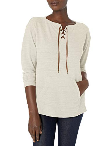 Chaps Women's Waffle Knit Lace-Up Placket Top, Grey Multi, S