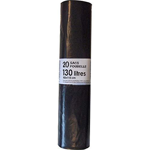 sac poubelle 130 litres noirs à liens classiques x 20