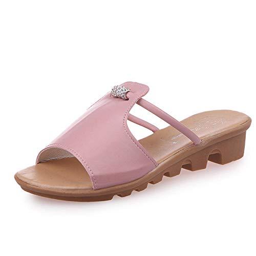 Chanclas de Gran Apariencia,Sandalias de Diamantes de imitación de Ocio de Verano,Zapatillas de Mujer de Palabra de tacón bajo-Pink_37,Sandalias de Zapatillas con Punta Abierta Sexy