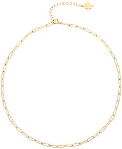 18k Gold Oval Link Chain Choker Paperclip Necklace North Star Charm Short Adjustable Layering product image