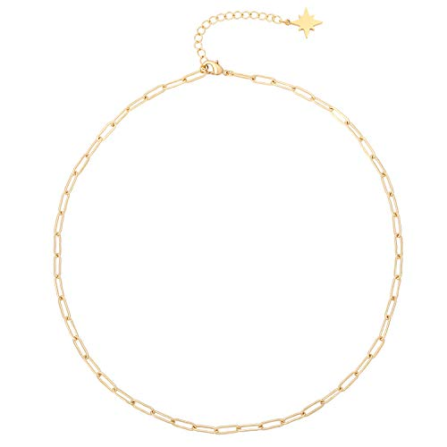 18k Gold Oval Link Chain Choker Paperclip Necklace North Star Charm Short Adjustable Layering Necklace Minimalist Jewelry for Women 16''