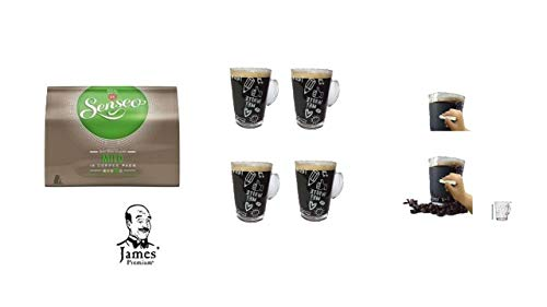 Senseo Kaffeepads Mild für Senseo und weitere Kaffeemaschinen Aktion+ 4 Kaffeebecher mit Henkel