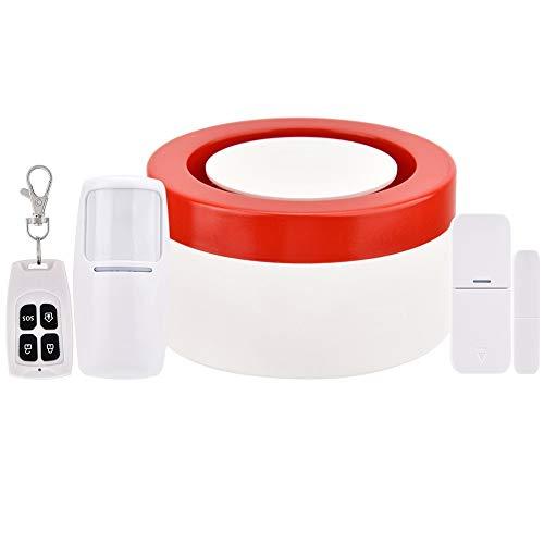 Sistema de Alarma de Seguridad de luz y Sonido con Control inalámbrico Inteligente, Sistema de Alarma antirrobo de Seguridad para el hogar de 120DB WiFi Host y Sirena(Nos)