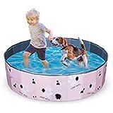 ペット用プール Speedbyte 子供用プール折り畳め式 ポータブルバスグッズ 犬 猫用 子どもの水遊びプールにも PVC製ル ペット高級入浴用品 泳ぎプール (M(80*20), ピンク)
