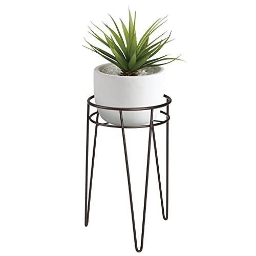 mDesign Midcentury Modern Flower Pot Stand - Metal Succulent and Plant Pot Holder - Minimalist Outdoor & Indoor Plant Holder - Hairpin Legs - Sturdy - Bronze - Small