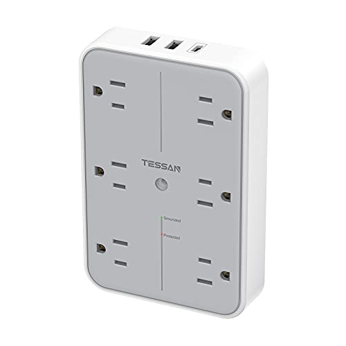 Multi Plug Outlet Extender, TESSAN 6 Electrical Outlets Splitter with USB A and USB C Wall Charger, Widely Spaced Multiple Power Expander, Surge Protector Wall Outlet for Bedroom Dorm Room Office