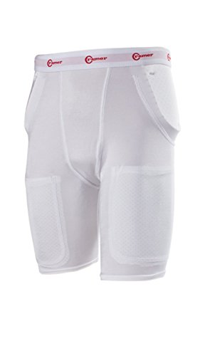 Cramer Classic 3-Pad/2-Pocket Football Girdle With Hip & Tailbone Pads, Football Pads, Football Equipment, Adult and Youth Football Gear, Football Protective Gear, Football Thigh Padding, White, Large