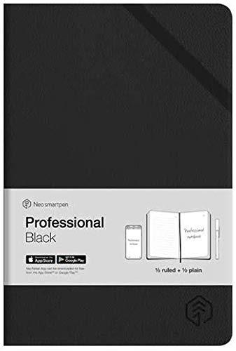 Notizbuch, Hardcover, für Neo Smartpen M1 N2, liniert und blanko, 250 Seiten, Schwarz schwarz