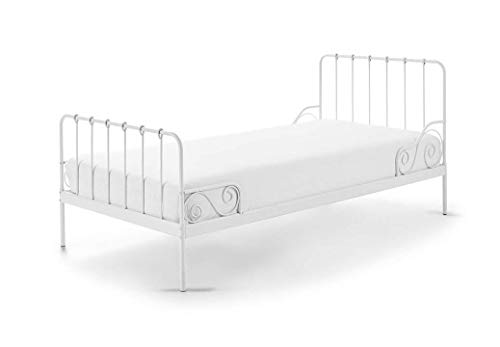 Vipack Alice Liegefläche 90 x 200 cm weiß Metallbett, Einzelbett, Kinderbett, Jugendbett, Single Bett, Metall, 94 x 205 x 90 cm