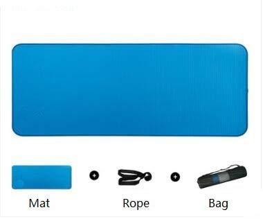 HYLXF Yoga Mat 10mm Thick Non-Slip Yoga Mat Anti-Tearing Fitness Sports Mat Sports Gymnastics Pilates Mat with Yoga Mat Bag and Strap Blue