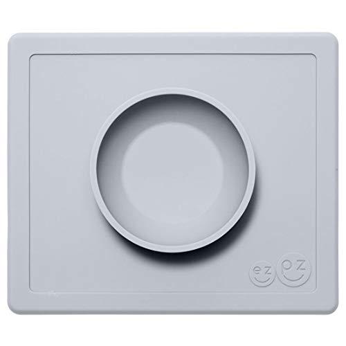 EZPZ Happy Bowl 24 meses +. Bol 100% de silicona con mantel individual incorporado para niños pequeños y en edad preescolar. Gris claro