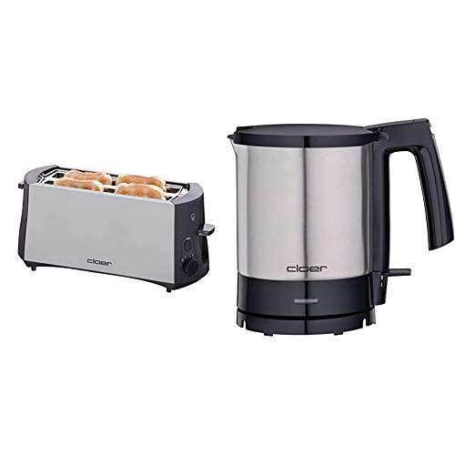 Cloer 3710 Langschlitztoaster für 4 Toastscheiben / 1380 W & 4700 Wasserkocher / 2000 W / Trockengeh- und Überhitzungsschutz / innen liegende Füllmengenmarkierung / 1,5 Liter