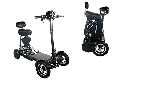 Foldable Heavy-Duty Electric Mobility Scooters – Motorized Lightweight Mobility Aid Scooters – Multi Terrain Aviation Travel Electric Scooters with Long-Life Battery (Black)