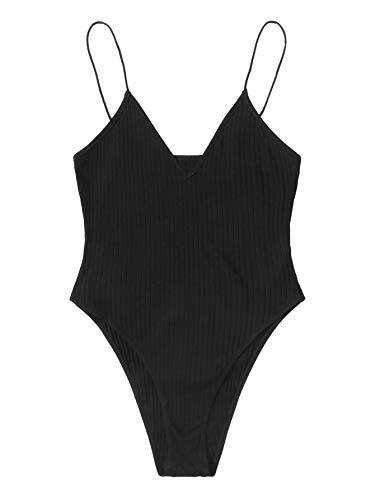 DIDK Damen Bodys Strick Spaghettiträger Bodysuit Ärmellos Bodies Elegant Damenbody Basic Camisole Body Schwarz S
