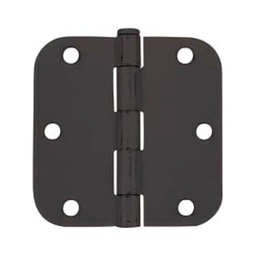 Cosmas Flat Black Door Hinge 3.5' Inch x 3.5' Inch with 5/8' Inch Radius Corners - 12 Pack