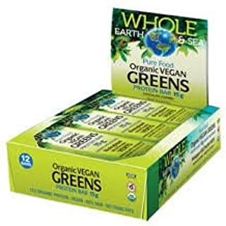 Whole Earth & Sea Pure Food Organic Vegan Greens Protein Bar 15g x 12 Bars