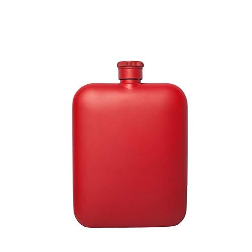 Kolven Pocket 6oz Hip Flask Met Free Funnel RVS 100% lekvrije flessen met alcohol Whiskey Gift For Men Metal (Kleur: Rood) Mooie delicate draagbare heupfles. (Color : Red)