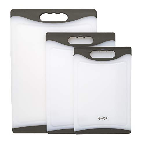 Goodful - Juego de 3 tablas de cortar antideslizantes, hechas sin BPA, aptas para lavavajillas, asas de fácil agarre, pozo integrado...