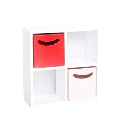 Deanyi 01.12 Einfache Mini-Holz-4 Gitter Schrank mit 2 Schubladen Miniatur Moderne Innenmöbel für Puppenmöbel 1 Set