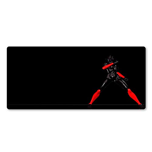 Alfombrilla de ratón personalizada, práctica y her Alfombrilla de ratón High-Garde Black and Red Female Warrior Alfombrilla de ratón Diseño personalizado Mouse Pad, adecuado para la consola de juegos