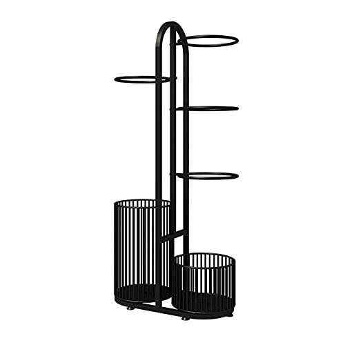 Estantería fútbol organizador de baloncesto El almacenamiento de equipos deportivos verticales de tubería de metal negro puede almacenar 4 bolas, rack organizador con canasta de raquetas, adecuado par