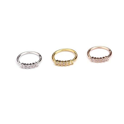 ZYQXB - 1 pieza de color dorado para la nariz, aro para la nariz, anillo de cristal pequeño con circonita, estrella, hélix, Knorpel Tragus (piedra principal: plata, color del metal: 5 piedras)