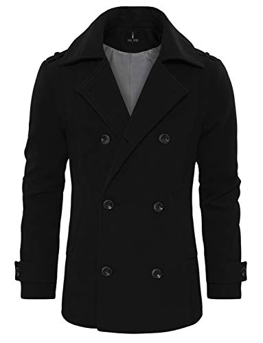 TAM WARE Men's Stylish Wool Blend Double Breasted Pea Coat TWCC10-BLACK-US M