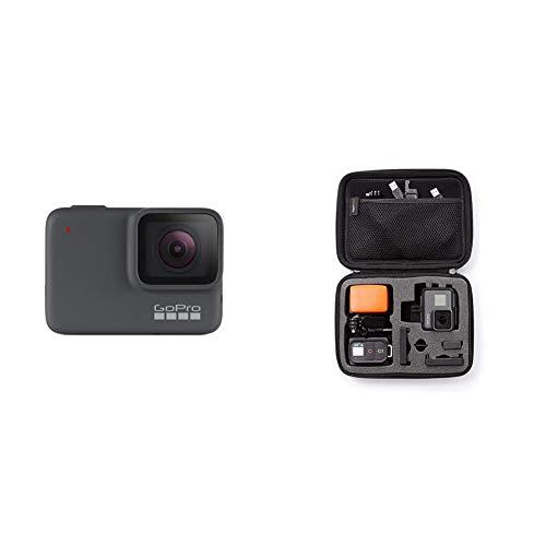GoPro HERO7 Silber – wasserdichte Digitale Actionkamera mit Touchscreen, 4K-HD-Videos, 10-MP-Fotos & Amazon Basics Tragetasche für GoPro Actionkameras, Gr. S