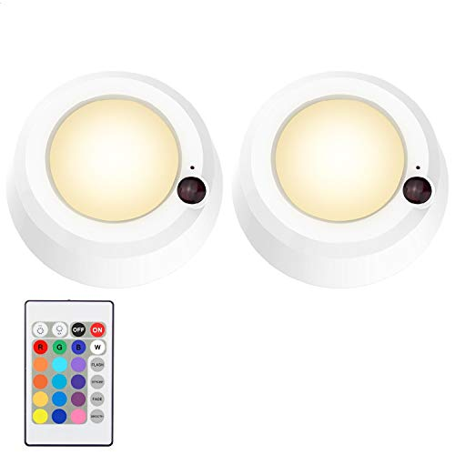 LUXSWAY Wirless Battery Operated Ceiling Light ,Remote Control Color Chaning Hallway Light, 300 Lumens Dimmable Ceiling Light For Hallway Bathroom Closet Bedroom Shower Stair, 5.67 Inch, 2 Pack