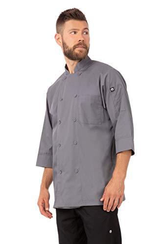 Chef Works Men's Morocco Chef Coat, Gray, Medium
