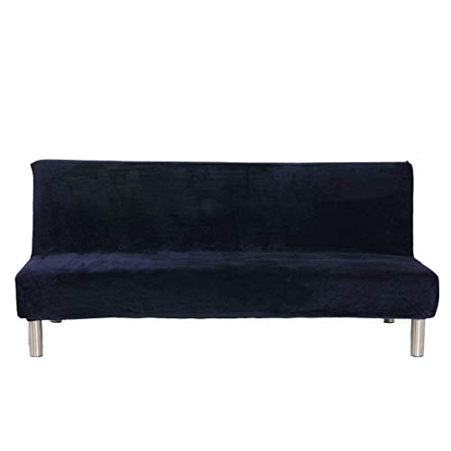 Velvet Plush Armless Sofa Slipcover,3 Seater Winter Thicker Stretch Sofa Bed Covers Furniture Protector Solid color Anti-slip Stretch Couch Covers fits Folding Sofa Bed without Armrests (Dark Blue)